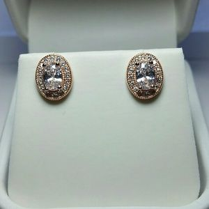 Jewelry - Rose Gold Simulated Oval Diamond Earrings